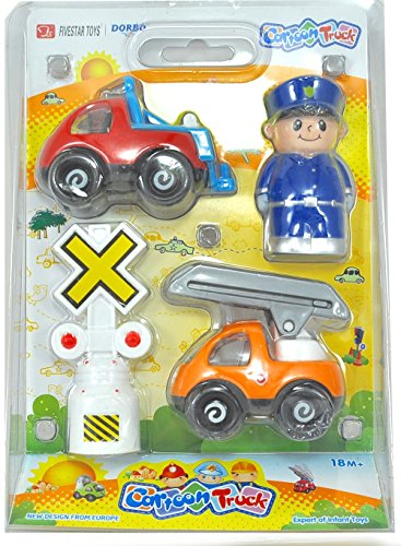 Silli Me: Cartoon Truck - Policeman 4 piece Play Set with RR Crossing Signal, Fire Truck, and Tow Truck