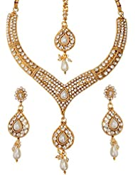 Ameeyo Faux Pearl Traditional Designer Necklace Set For Women (NLBL0024PRL)