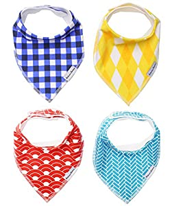 B.B. Baby Bibs 4-Pack by Bodacious Bambino | Drool Bandana Bibs for Boys | Drooling Bibs with Style