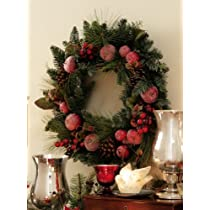 Rustic Christmas Holiday Apple & Pinecone Wreath - 23