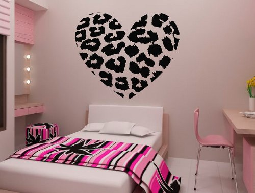 """Colorfulhall 23.6"""" X 27.6"""" Leopard Print Heart Wall Decals Cheetah Stripe Decoration Sticker For Home House Living Room Dorm Dance Room Bedroom front-1003655"""