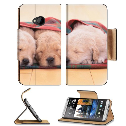 Puppies Dogs Sleeping Pets Animal Blanket Htc One M7 Flip Cover Case With Card Holder Customized Made To Order Support Ready Premium Deluxe Pu Leather 5 11/16 Inch (145Mm) X 2 15/16 Inch (75Mm) X 9/16 Inch (14Mm) Liil Htc One Professional Cases Accessorie front-473217