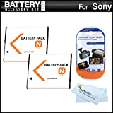 2 Pack Battery Kit For Sony Cyber-Shot DSC-W530, DSC-W620, DSC-W650, DSC-W610 Digital Camera Includes 2 Extended Replacement (1100Mah) NP-BN1 Batteries + LCD Screen Protectors + MicroFiber Cleaning Cloth ~ ButterflyPhoto