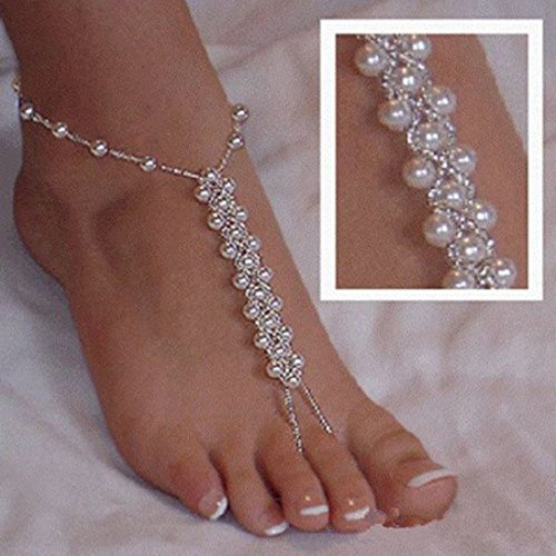 Purchase Black Menba Pearl Barefoot Foot Jewelry Anklet for Sandals& Beach Wedding(1 Pair)