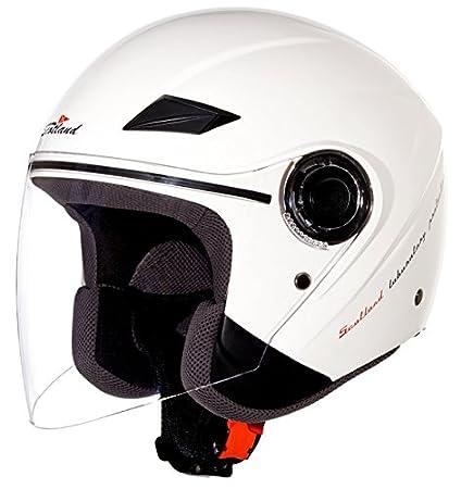 Scotland 120002-bn-xs Casque Moto / Scooter Force 03 avec une Longue Visière, Blanc