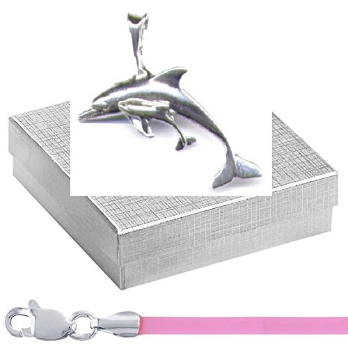 """Gift Boxed Dolphin Mother And Calf Pendant With 18"""" Pink Cord Sterling Silver Ocean Animal Jewelry Set front-550371"""