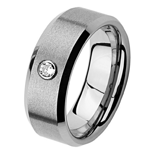 8mm Beveled Edge Cobalt Free Tungsten Carbide COMFORT-FIT One Stone .072 Carat Diamond Wedding Band Ring (Size 8 to 13) - Size 8.5