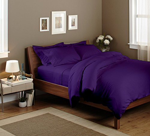 Pima Cotton Fitted Sheet 350 Tc Solid (Cal-King, Purple) By Bedding Spa