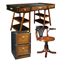 Hot Sale Navigator's Desk with Purser's Chair and Campaign Filing Cabinet, Black and Honey - Office Nautical Furniture Kit, Solid Wood Desks with Chair and Filing Cabinet, Black and Honey - Working Desk with Chair and Filing Cabinet