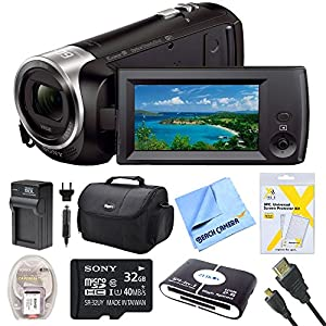 Sony HDRCX440B HDR-CX440B HDR-CX440/B CX440 4K HD Video Recording Handycam Camcorder Bundle With Deluxe Bag, 32GB Mico SD Card, AC/DC Charger, HDMI Cable, Battery Pack, and More