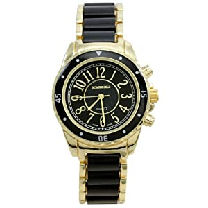 BOMBSHELL Women's BS0983GB Gold Tone Metal with Black Center Link Bracelet Black Dial Watch
