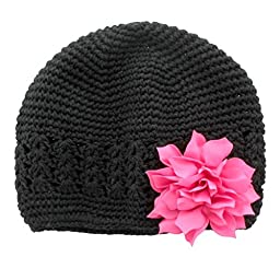 My Lello Infant Baby Girl\'s Crochet Beanie Hat with Flower Black/Hot Pink