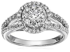 14k White Gold Unity Diamond Wedding Ring (1 cttw, H-I Color, I1-I2 Clarity), Size 7