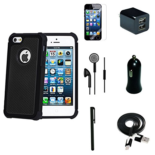 I Phone 5/ 5s/ 5g 7 Pcs Accessory Black Bundle, Premium Rugged Case, Dual Usb Lighting Car Charger, Dual Usb Home Charger, Screen Protector, Stylus Pen, Usb 2.0 Data Cable, Stereo Earphones.GET 7 PRODUCTS FOR THE PRICE OF ONE OR TWO!