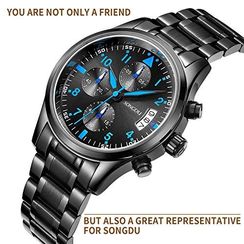 songdu herren schwarze military chronograph casual quarz uhr coole blaue hand edelstahl. Black Bedroom Furniture Sets. Home Design Ideas