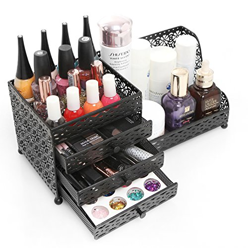 Black Metal Jewelry & Cosmetics Storage Drawer Box / Decorative Dresser Top Organizer Tray - MyGift®