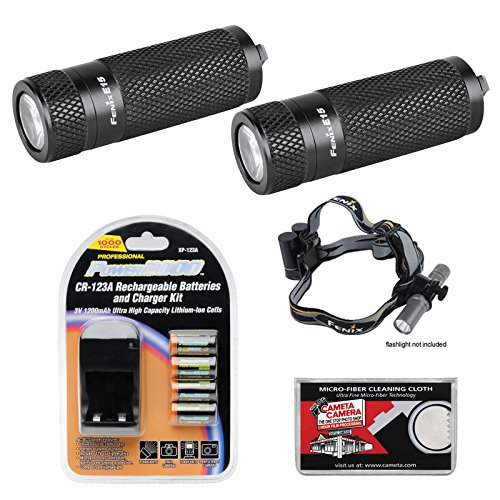 Fenix E15 Led Waterproof Torch Flashlight (2X) With Headband + 4 Rechargeable Batteries & Charger + Cloth
