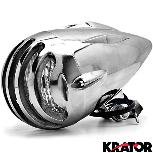 Krator® Chrome Vintage Grill Headlight Antique Style Chopper Motorcycle Bobber Rat Rod Harley, Honda, Yamaha, Suzuki, Kawasaki, Custom Bike, Cruiser, Choppers (Motorcycle Chopper Headlight compare prices)