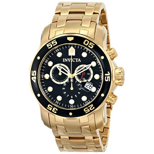 Invicta Pro Diver Men's Quartz Watch with Black Dial chronograph Display and Stainless Steel Gold Plated Bracelet...