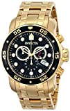 Invicta Mens 0072 Pro Diver Collection Chronograph 18k Gold-Plated Watch