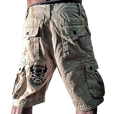 Yakuza Herren Cargo Shorts Militärstil in Used Optik mit Stichings CSB 642 sand