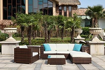 Au jardin de chloé - Salon de jardin modulable résine tressée avec angle - FLORIE MARRON - Marron - 5 places