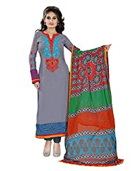 Yehii Women's Faux Georgette Grey Plain / Solid dress material Unstitched Salwar Kameez Dupatta for women party wear low price Below Sale Offer