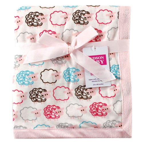 Hudson Baby Sheep Printed Blanket with Plush Backing, Pink