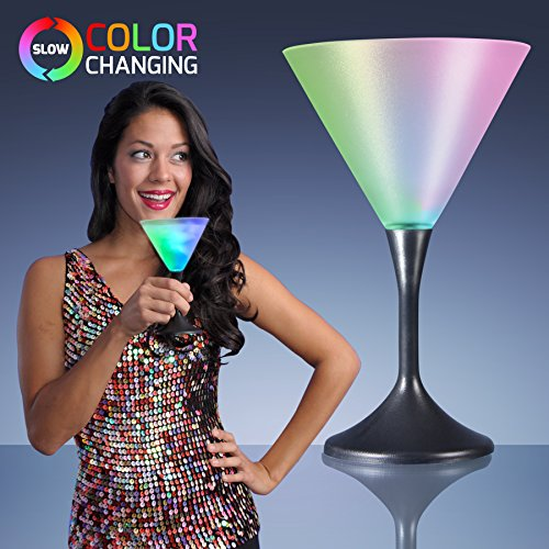 Light Up Led Frosted Martini Glass With Black Base (Set Of 4)