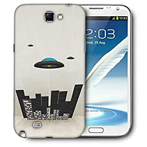 Snoogg Spaceship Printed Protective Phone Back Case Cover For Samsung Galaxy Note 2 / Note II
