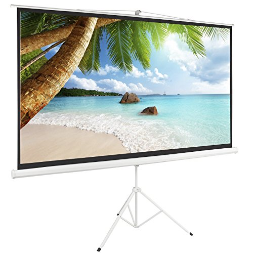 Best Price! ARKSEN© 100″ Tripod Projection Screen Projector Matte Home HD Movie, White, 16:9, 84″x49″
