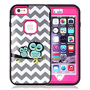 iphone 6s Plus Case, ArtMine Sleeping Owls 3 in 1 Hybrid Impact Resistant Silicone & Plastic Tough Rugged Heavy Duty Armor Combo Defender Protective Case for Apple iphone 6 Plus / iphone 6s Plus Rose