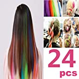 24-PCS-Color-OPCC-Bundle-22-Inches-Multi-Colors-Party-Highlights-Colorful-Clip-In-Synthetic-Hair-Extensions1PCS-Opcc-Sticky-Notes-included