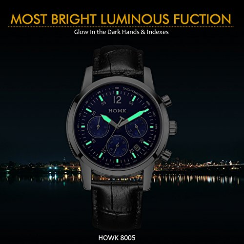 howk men s chronograph watches date analog and blue luminous dial howk mens chronograph watches date analog and blue