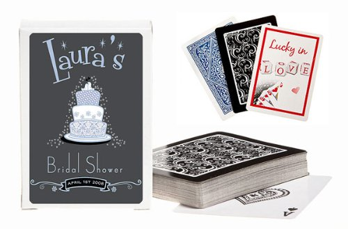 Baby Keepsake Blue Wedding Cake Design Personalized Playing Card Favors