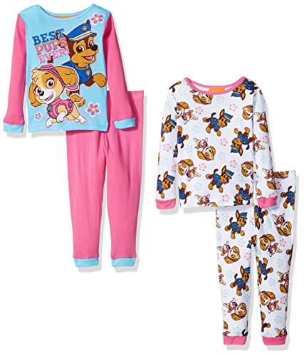 Nickelodeon Girls' Paw Patrol Toddler 4-Piece Pajama Set