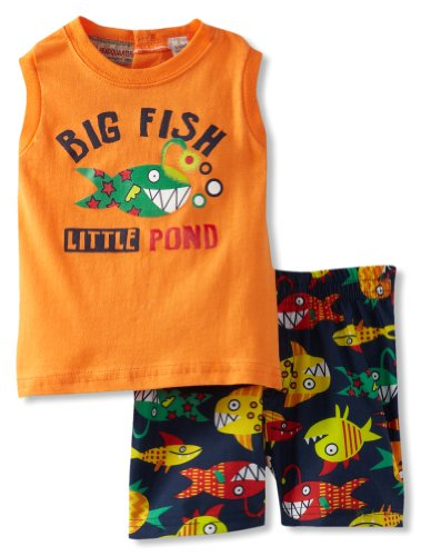 Kids Headquarters Baby-Boys Newborn Tee Big Fish With Swim Shorts, Orange, 3-6 Months front-1027755