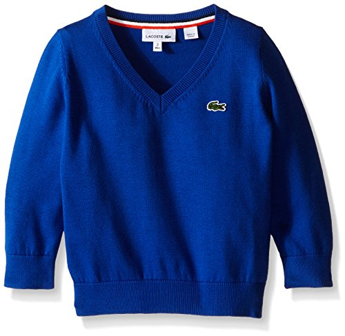 Lacoste Little Boys Classic Cotton Jersey V-Neck Sweater, Aviator Blue, 2