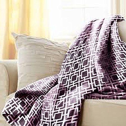 "Sunbeam Heated Throw Latice Eggplant Purple 50""X60"" 3 Heat Settings Reversible"