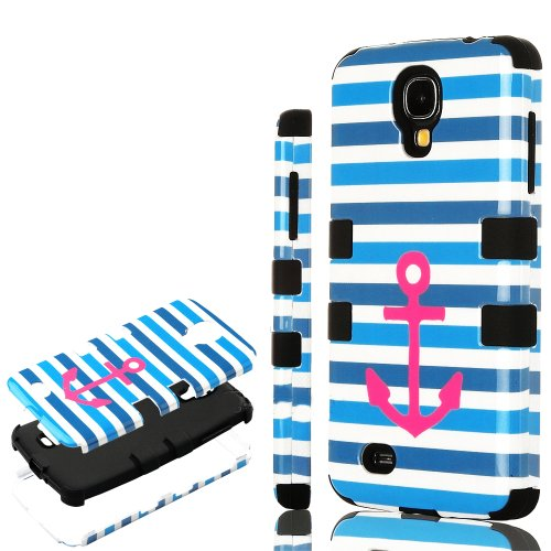 "Mylife (Tm) Black - Blue Stripes And Pink Anchor Design (3 Piece Hybrid) Hard And Soft Case For The Samsung Galaxy S4 ""Fits Models: I9500, I9505, Sph-L720, Galaxy S Iv, Sgh-I337, Sch-I545, Sgh-M919, Sch-R970 And Galaxy S4 Lte-A Touch Phone"" (Fitted Front"
