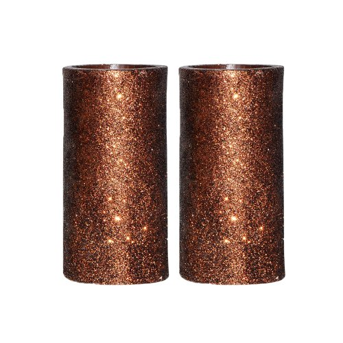 Dfl 3X6 Inch Battery Operated Flameless Real Wax Led Pillar Candle With Timer With Glitter Powder-Coffee,Set Of 2