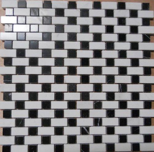 Stone Mosaic Tile Backsplash Polished White Amp Black Marble