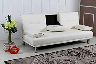 New 'Sleep Design' Manhattan Modern Faux Leather Fold Down 3 Seater Sofa Bed With Drinks Table & Cushions- Available In Black, Red, White, Green, Blue, Orange, Purple & Brown