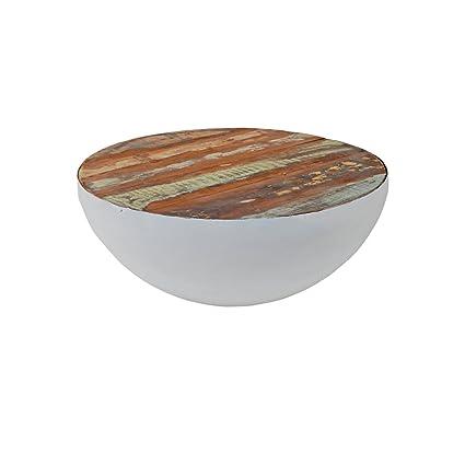 Wohnzimmertisch rund Halbkugel Beistelltisch Bowl Brix Mangoholz Metall Stahl (Ø70cm, Weiß)