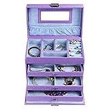 SONGMICS Purple Leather Jewelry Box Textured Storage Case w/ Mirror UJBC133
