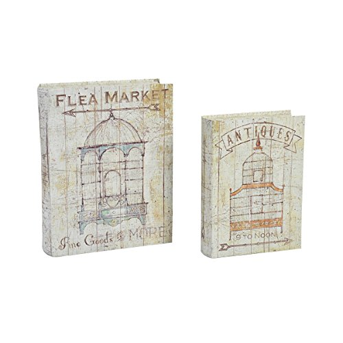 Elements Decorative Storage Book Box, Vintage Bird Cages, Set of 2