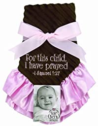 Sue Berk Designs For This Child, I Have Prayed Baby Blankie, Pink/Brown