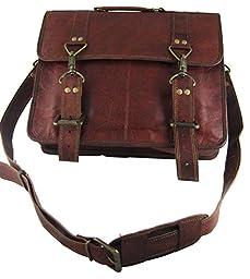 Natural Leather Flapover Briefcase (14x12x3)- Ganci Attaché Design By Viatori