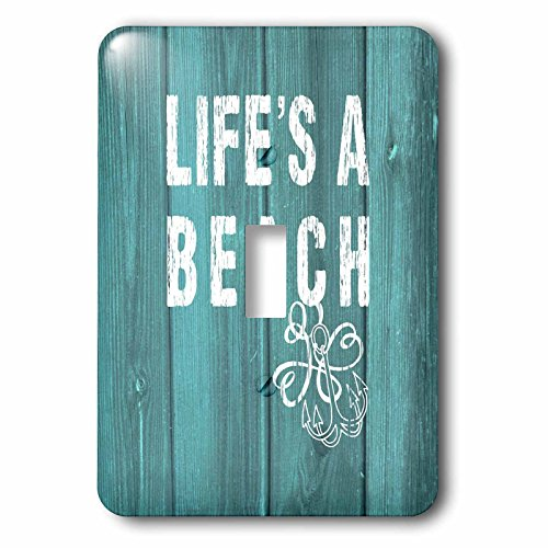 Russ Billington Nautical Designs - Lifes a Beach Distressed White Text on Teal Background- not real wood - Light Switch Covers - single toggle switch (lsp_220419_1)