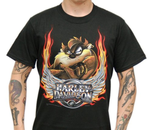 Harley-Davidson Mens Bad Flame Taz Black Short Sleeve T-Shirt (X-Large)
